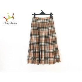バーバリーズ ロングスカート サイズ7 S レディース ベージュ×黒×レッド チェック柄/プリーツ 新着 20190917