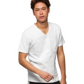 (キャバリア)CavariA メンズ 半袖 Tシャツ Vネック ロゴ プリント エンボス 天竺CAST19-74 46(L) 01(WHT)【-】