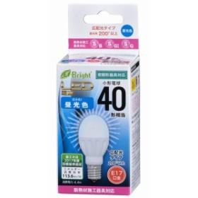 オーム電機 OHM LED電球 ミニクリプトン形 E17 40W形相当 昼光色 広配光 密閉器具 断熱材施工
