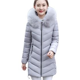 BSCOOL レディース中綿ジャケットスリムダウンコート冬服あったか防寒綿入れコートフード付き防風アウター(Bグレー)
