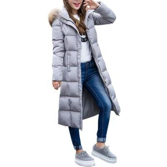 Fashion maker(ファッション メーカ) ダウンコート レディース コート ダウンジャケット 防寒着 アウター 着痩せ フード付き フェイクファー 軽量 カジュアル ロング丈 シンプル 暖かい 大きいサイズ (グレー, XL)