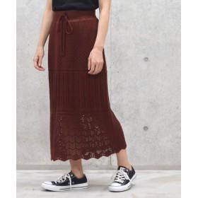 ダブルクローゼット 7Gニットスカート レディース ブラウン FREE 【w closet】
