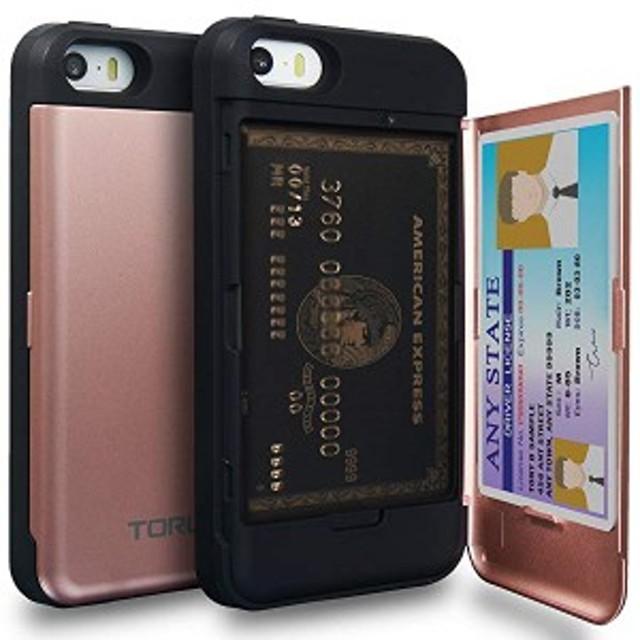 iPhoneSEケース カードピンク 収納背面 3枚 IC Suica カード入れ カバ― ミラー付き (アイフォン SE/アイフォン 5S / アイフォン...