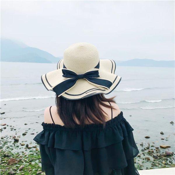 草編帽 草帽女夏天沙灘帽海邊防曬小清新正韓版遮臉出游百搭太陽帽遮陽帽子 街頭布衣