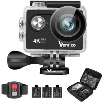 Vemico アクションカメラ 4K カメラ 防水 ウェアラブルカメラ バイクカメラ WIFI搭載 アクションカム 1600万画素 2インチ液晶画面 170度広角 40m防水 スポーツカ