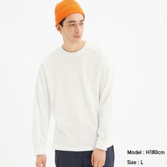 (GU)コットンクルーネックT(長袖) WHITE M
