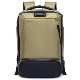 Semiga 盗難防止リュックサック ビジネス USB充電ポート付き TSAロック ワイヤーロック 大容量耐衝撃 USB充電 防刃 軽量 防水 大容量 多機能のポケット 出張 旅行 通勤 通学 カーキ