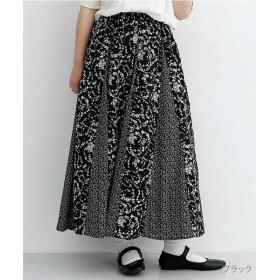 メルロー 花柄パッチワークフレアスカート レディース ブラック FREE 【merlot】