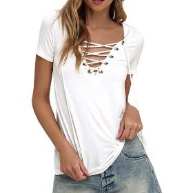 ミネサム Minesam レディース Tシャツ 半袖 無地 オリジナル ユニークなVネック ブラウス トップス カットソー ホワイト S
