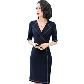 夏フォーマルワンピース半袖中長型スタイルがいいOL美容師仕事服スーツワンピース (ブルー, 3XL)