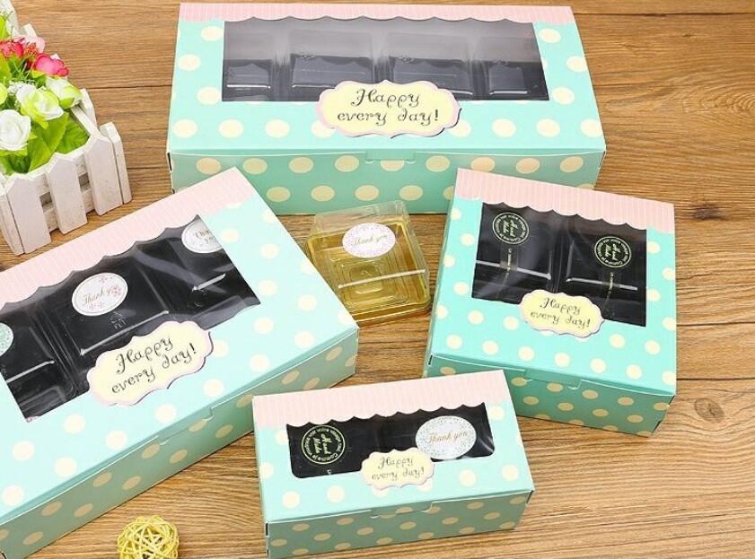開窗2/4粒裝 63-80g月餅盒 雪媚娘盒 蛋撻盒 蛋糕盒牛軋糖包裝盒 烘焙紙盒 蛋黃酥盒c102