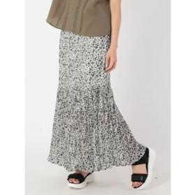 【a.g.plus:スカート】単色花柄クリンクルプリーツスカート