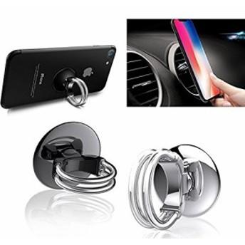 3ユニバーサルエアーベントカーフォンマウントと携帯電話リング、360°回転&180°フリップ、強力なスティッキージェルパッド付 ...