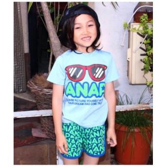 (ANAP KIDS/アナップキッズ)サングラスプリントTシャツ+ロゴショートパンツSET/レディース ブルー