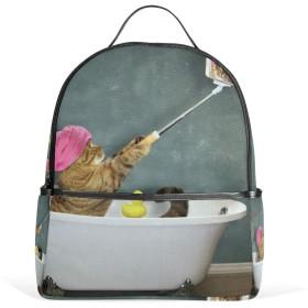 リュックパック サック バックパック デイパック シャワで自分撮り猫 高校生 大学生 デイパック 通学 通勤 メンズ レディース 軽量 大容量 休閑 流行り 遠足