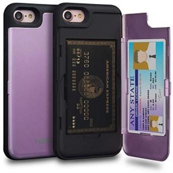 送料無料 iPhone8 ケース カード 紫の収納背面 2枚 IC Suica カード入れ カバ― ミラー付き (アイフォン8 / アイフォン7 用) - ラベ