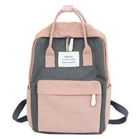 Backpack Women Hot Canvas Backpacks Candy Color Waterproof School Bags For Teenagers Girls Laptop Backpacks Patchwork Backpack Gray-P