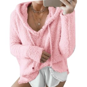 Tootess レディース秋冬モヘアプルオーバーレジャーフードジャケット Pink M