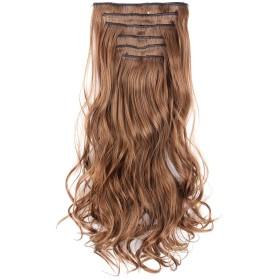 Alileader襟足ウィッグ エクステ 16色可選択 クリップ式 ポイントウィッグ カール巻き髪 パーマネント グラデーションカラー可愛 ロング つけ毛 部分かつら ゆるわるレミーヘア ファッション オシャレ日常 (12#アースブラウン)