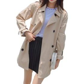 Bestmoodトレンチコート レディース ゆったり ファッション 春コート 無地 ビジネス アウター 綿 ヒップアップ 通勤 薄手 コート(Oカーキ)