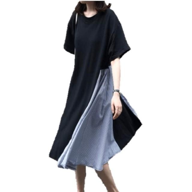(panda store) ワンピース レディース Tシャツ 半袖 ゆったり 大きいサイズ ママ 体型カバー 魅力 可愛い おしゃれ カジュアル 普段着 お出掛け 夏 ネイビー