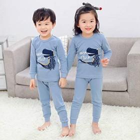 綿100%子供服 男の子、女の子 、赤ちゃん 長袖 パジャマ フルーツ、漫画のパターン 寝間着 上下セット 幼児服 キッズ服 (蓝, 120)