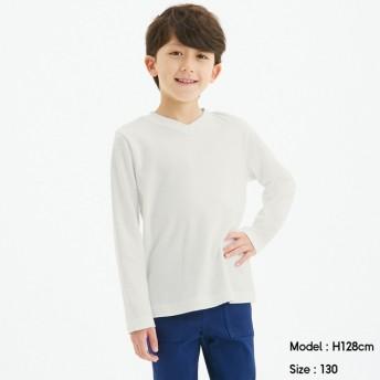 (GU)KIDS(男女兼用)ソフトコットンVネックT(長袖)+X OFF WHITE 140cm