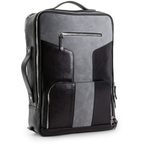 Tefors - Free Minimalist Leather Wallet Included - Expandable Leather Camera Backpack (Nero & Suede)