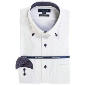 (TAKA-Q/タカキュー)ストレッチ形態安定スリムフィット ボタンダウン長袖ニットビジネスドレスシャツ/メンズ ホワイト 送料無料