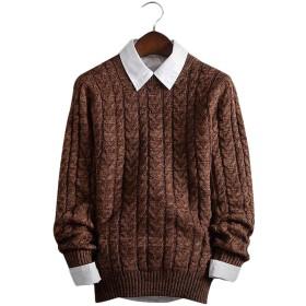 BAJIAN メンズ トップス ニットセーター プルオーバー セーター 上着 ニット スウェット カジュアル 丸首 長袖 かっこいい あったか 秋冬 ブラウン 2XL