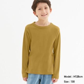 (GU)KIDS(男女兼用)ソフトコットンクルーネックT(長袖) MUSTARD 110cm