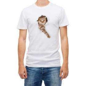 3D big cat effect Short sleeve White Men's Top Quality t shirt (L)