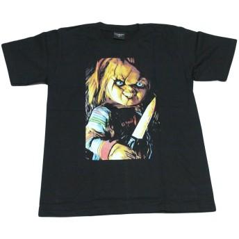 チャイルドプレイ 映画 ホラー チャッキー アメリカ USA ストリート系 デザインTシャツ おもしろTシャツ メンズTシャツ 半袖 (XL, 黒) [並行輸入品]