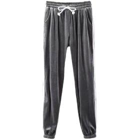 Tootess 女性のランニングパンツのビロードのスポーツpleucheフリースレギンスパンツ Grey S