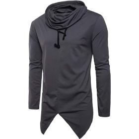 VITryst メンズノベルティスリムカジュアルヒップスター純カラージャージーシャツ Grey S
