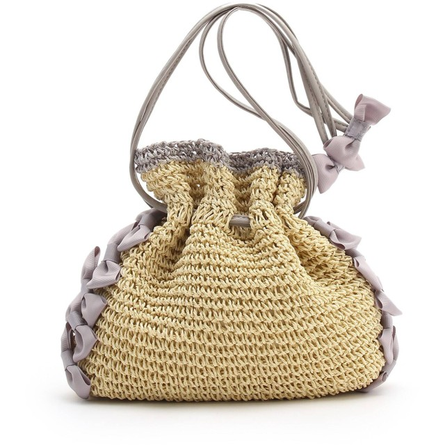Couture Brooch クチュールブローチ リボンモチーフ付 巾着ミニカゴバッグ