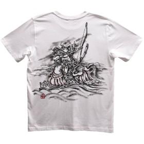 那須の与一 Tシャツ 白 半袖 和柄 日本画 武者絵 侍 手描き 墨絵 伯舟庵 (M)