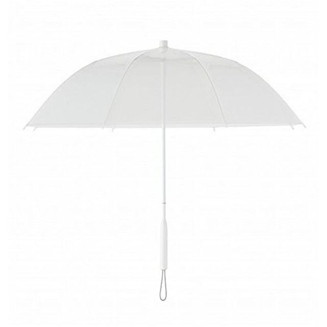 +TIC プラスチック 長傘 手開き カラー ライン 全5色 ホワイト オールプラスチック製 張り替え可能 8本骨 60cm PT701 ホワイト