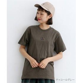 メルロー kumalot ふたり刺繍Tシャツ レディース チャコールグレー FREE 【merlot】