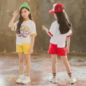 女の子 子供服 キッズ ショートパンツ スポーツウェア 半袖 通園通学 スウェット 2019夏 上下セット セットアップ 可愛い おしゃれ 入学