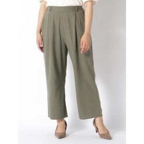 【大きいサイズレディース】【L-3L】フレンチリネン美脚ワイドパンツ パンツ ワイドパンツ