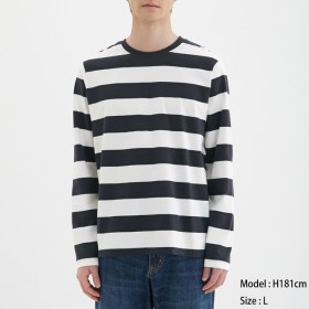 (GU)ワイドボーダークルーネックT(長袖) WHITE M