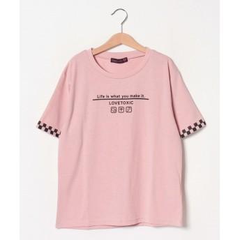 ラブトキシック 袖フラッグチェックTシャツ レディース ピンク 150 【Lovetoxic】