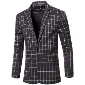 Nicellyer メンズファッションチェック柄シルバーフィット1ボタン秋冬ブレザーコート Gray S