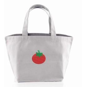 [X-CLOTHES] ミニトートバッグ ランチバッグ ワンポイント 刺繍 グッズ レディース キャンバス Free トマト グレー