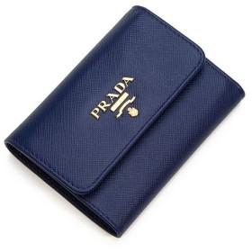 プラダ 3つ折り財布(小銭入れ付き) レディース PRADA ブルー 1MH840 QWA F0016 SAFFIANO METAL BLUETTE