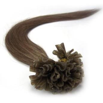 Remeehi 最高級レミーエクステ 人間の毛髪 人毛 簡単装着 チップ式100%のレミーエクステ 人間の毛髪 エクステンション エクステ100本セット 70g 46cm #8 Chestnut Brown