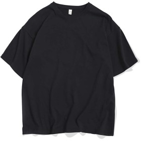 Azue Tシャツ 半袖 メンズ シャツ カットソー ロンTクルーネック 丸首 無地 速乾 柔らかい 軽いシンプル スリム ブラック3L