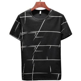 GuDeKe 夏服 メンズ Tシャツ トップス 半袖 ストライプ 無地 クルーネック シャツ ゆったり 薄手 カットソー ストレッチ 細身 ファッション ブラックL