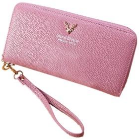 おしゃれで可愛い ウンドファスナー レディース スマホ収納 長財布 小銭入れ付 カード ケース 大容量 (ピンク)
